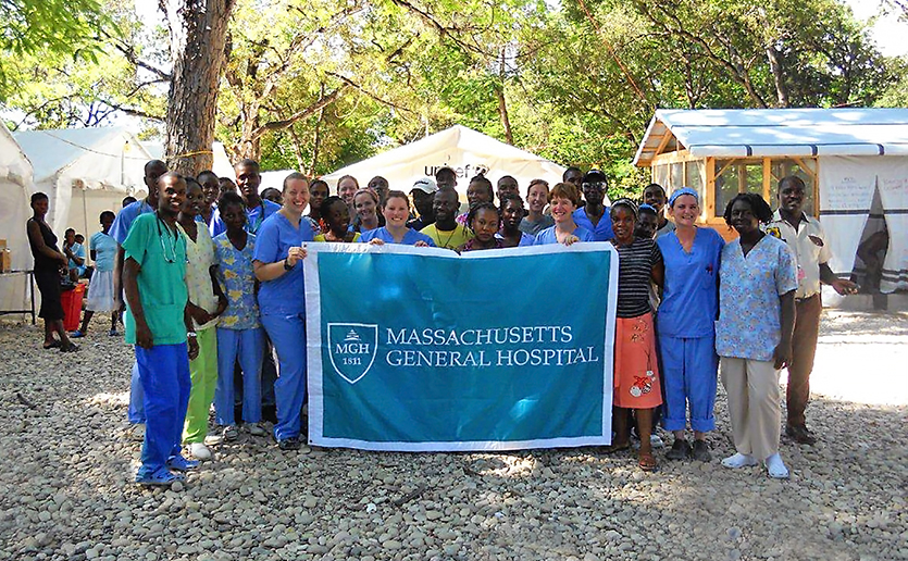 Staff members from Mass General on the ground in Haiti following the earthquake in 2010.