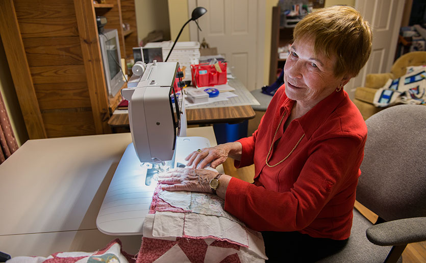 Daryl Kreindel, an accomplished quilt maker, is a devoted MGH Fund supporter. compassionate care