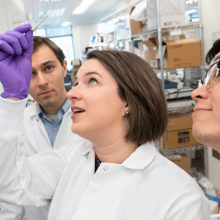 Seeking ways to prevent and treat immunotherapy side effects are Alexandra-Chloé Villani, PhD, (center), Daniel Zlotoff, MD, PhD, (left) and Kasidet Manakongtreecheep.