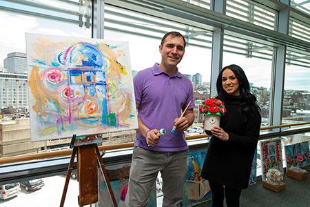 Having loved ones undergo cancer treatments at Mass General has inspired the creativity of Jonathan Zuker and Amanda Baudanza.