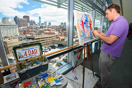 Jonathan Zuker sets up his easel on Yawkey 7 every Wednesday and his art is on display at the Mass General/North Shore Center for Outpatient Care.