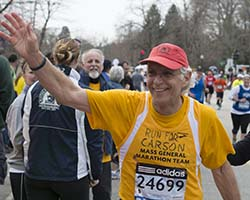 Team captain Howard Weinstein, MD, on his way to the finish line during the 2013 Boston Marathon.