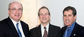 Celebrating a new endowed chair in addiction medicine are, from left, Peter L. Slavin, MD, president of Massachusetts General Hospital; inaugural incumbent Timothy E. Wilens, MD, and Jerrold F. Rosenbaum, MD, Psychiatrist-in-Chief at Mass General.