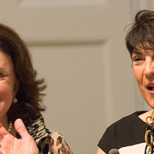 Carol Ammon (at left) and Marie Pinizzotto, MD, spoke at the naming celebration for the Ammon-Pinizzotto Center for Women's Mental Health.