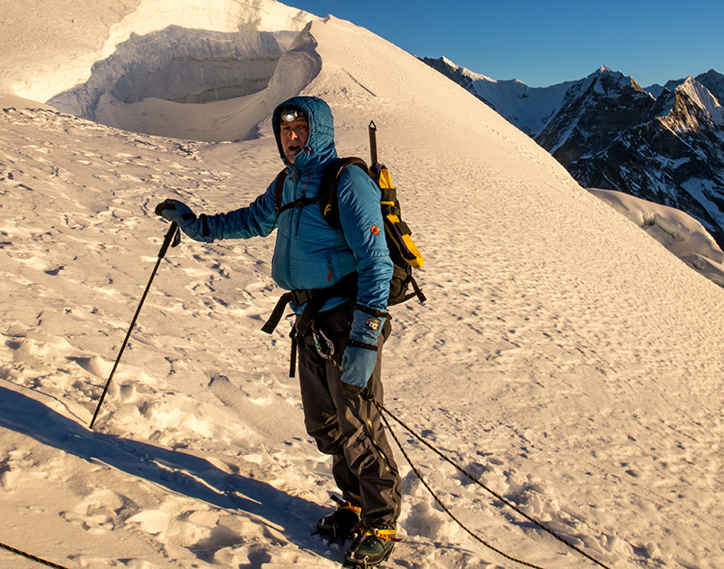 Andy Lindsay pauses on his trek to Mera Peak.
