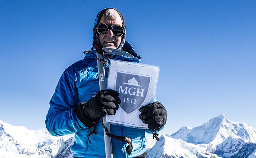 Andy Lindsay, at the summit of Mera Peak. Lung cancer