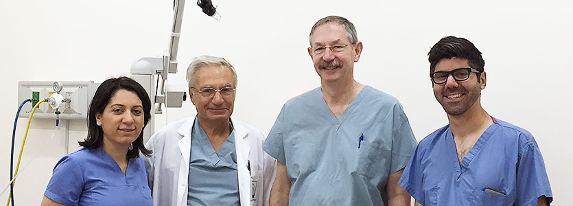 From left, Drs.Garibyan, Goudsouzian, Anderson and Jalian, in the operating room at Arabkir Pediatric Hospital in Armenia