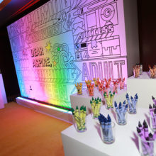 The 2017 Aspire Gala featured a special wall for guests to color. It will be hung at the Lurie Center for Autism.