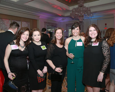 Enjoying the 2017 Aspire Spring Gala are, from left, Aspire program manager Leslie O'Brien, LICSW, intern Skylar Strawbridge, Aspire career counselors Shayna Fel, MSW, LICSW, and Lesley Flaherty, MSW, LCSW, and intern Lauren DiPaolo.