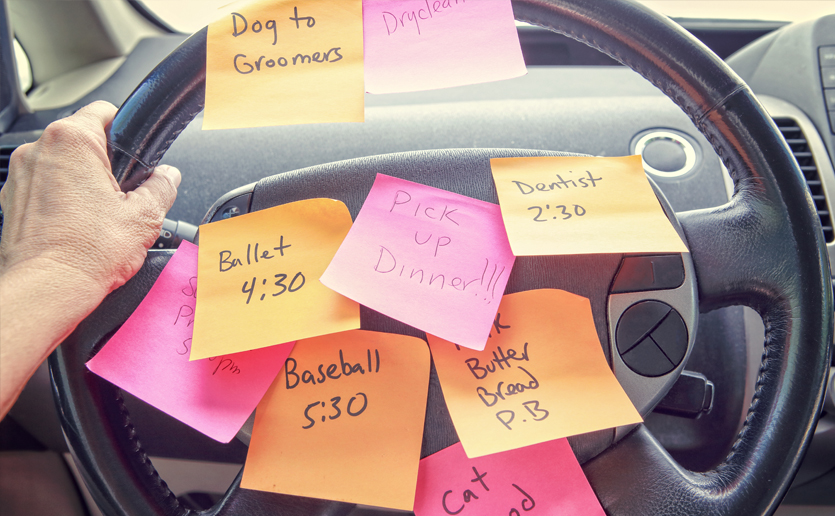 Steering wheel with tasks on post-it notes