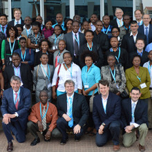 Participants of the BOTSOGO Cancer Symposium in Gabarone, Botswana gather for a group photo in May of 2014.