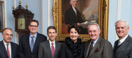 Gathered to celebrate Patricia and Jon Baker's gift for breast cancer research are (from left) Daniel Haber, MD, PhD, Cancer Center director, David Ryan, MD, chief of Hematology/Oncology; Leif Ellisen, MD, PhD, program director for Breast Medical Oncology; Patricia and Jon Baker; and MGH oncologist Jerry Younger, MD.