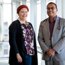 Since enrolling in a clinical drug trial led by Aditya Bardia, MD, MPH (right), Caroline Moore-Kochlacs' cancer has stopped progressing for more than two years.