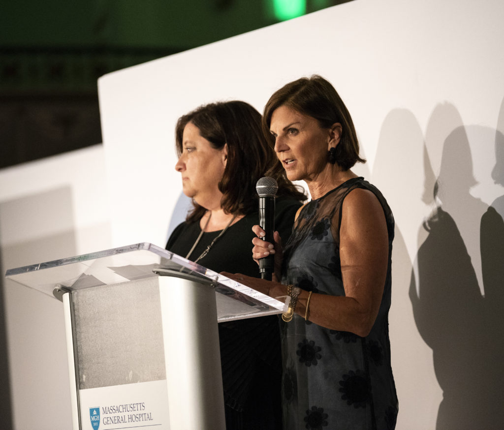 Susan Barry, right, addresses the crowd at the 2018 Friends Fall Benefit.