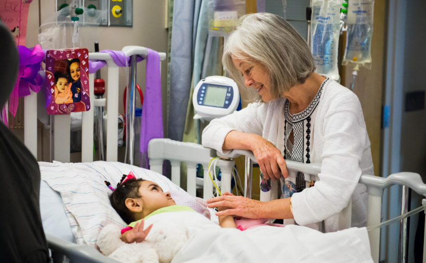 Pediatric Palliative Care's Patricia O'Malley, MD, frequently looked in on Lulu Eugene, who spent nearly a year of early life in MassGeneral Hospital for Children.