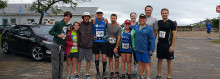 Members of Team Irregulo after a recent fundraising run. From left, Olivia Nestro, Paul Nestro, Cliff Hirsch, Doug Narins, Lindsay Bralower, Sydney Shaffer, Eddie Bralower, John Shaffer and Gabe Cioffi.