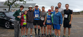 Members of Team Irregulo after a recent fundraising run. From left, Olivia Nestro, Paul Nestro, Cliff Hirsch, Doug Narins, Lindsay Bralower, Sydney Shaffer, Eddie Bralower, John Shaffer and Gabe Cioffi.