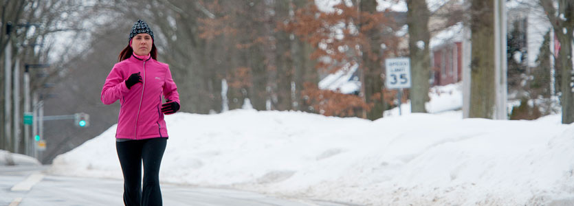 AmyBeth Bourgault hasn't let this winter's repeated snowstorms deter her from training for 2015 Boston Marathon.