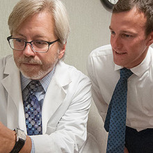 From left, Brad Dickerson, MD, director of the Mass General FTD Unit, with colleagues Ryan Darby, MD, a neurology fellow, and Megan Quimby, a speech and language pathologist