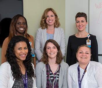 Bridge Clinic staff (top row, from left): Sophia Volcy, resource specialist; Laura Kehoe, MD, MPH, medical director; Hasena Omaovic, NP, psychiatric nurse practitioner; (bottom row, from left) Jasmine Webb, patient service coordinator; Elizabeth Powell, project manager and Nicole Bourgeois, recovery coach.