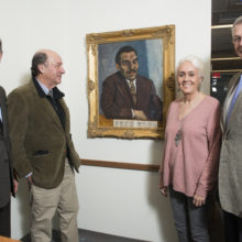 From left, James Brink, MD, chief of Radiology; Hartley Neel, MD; Ginny Neel; and Dr. Brit Nicholson, MD, senior vice president for Development, with a painting Dr. Neel donated to Mass General.