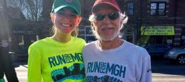 Callie McLaughlin and Howard Weinstein, MD, preparing for the 2018 Boston Marathon. (Photo courtesy of Callie McLaughlin)