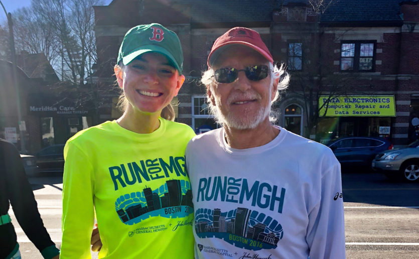 Callie McLaughlin and Howard Weinstein, MD, preparing for the 2018 Boston Marathon. (Photo courtesy of Callie McLaughlin)