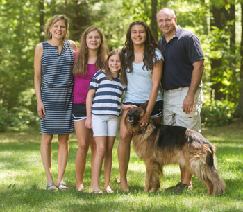 The Galizio family, from left, Heidi, Devon, Camy, Riley and Chris, with dog, Cinnamon,