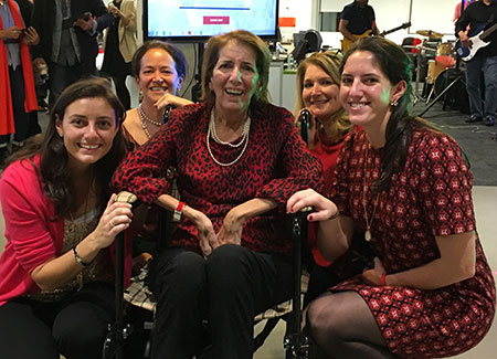 Mastercard launched sALSa For a Cure internally in January at a dance event attended by (from left) Caroline Vaughan, Merit Cudkowitz, MD, MSc, Margot Vaughan, Darlene Sawicki, NP, and Kirsten Vaughan.