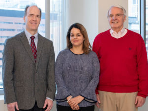 Helen Jaudy (center) is grateful to her Mass General neurosurgeons, Bob S. Carter, MD (left), and Robert L. Martuza, MD.