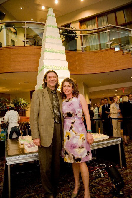 Alessio Fasano, MD, and Jules Shepard, in front of gluten-free cake at Gluten-Free Food Labeling Summit in Washington, D.C. in 2011.