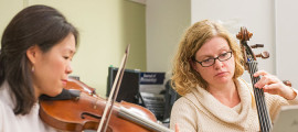Musicians from L'Académie played chamber music in the Mass General Newborn Intensive Care Unit during the first in a series of upcoming concerts.