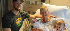 Courtney Daggett with husband Ryan, daughter Michaela and newborn son Colton feeling healthy and happy at Mass General Hospital.