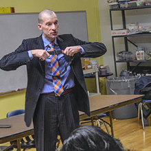 David R. King, MD, visits schools to instruct teachers and nurses on the proper use of a tourniquet.