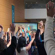 Participants in the De-Stress Boston event during HUBweek 2015 practiced a variety of techniques designed to reduce stress, build health and improve resiliency.