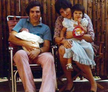 Charlie and Ruth Michaelson in 1976 with their daughters, Dena (one week old) and Elizabeth (three and a half years old).