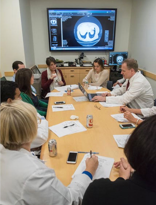 Pulmonary Nodule Clinic specialists from five disciplines review screening results and together determine a course of action for each patient.