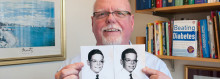 With MGH help, Tim Daly (shown holding pictures of himself with his twin brother, Paul) has kept diabetes at bay for 17 years.
