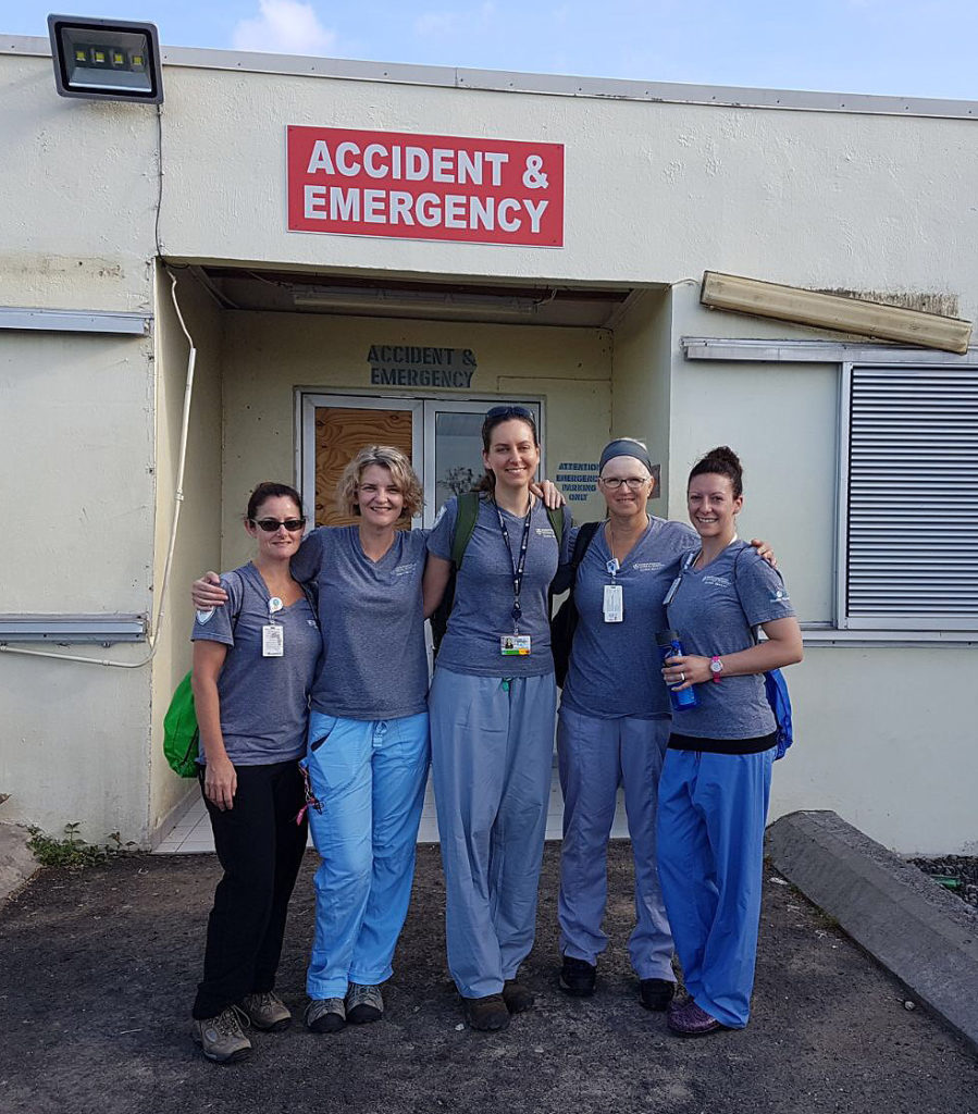 Dominica team members, from left: Kim Waugh, RN, Grace Deveney, RN, MPH, Megan Rybarczyk, MD, Roberta Culbert-Costley, MSN, and Jaclyn Dulong, RN.