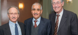 Highest Honor: From left: Dr. Jeremy Ruskin, Sheikh Omran Alomran, and Dr. Roman DeSanctis, Honorary Physician and Director of Clinical Cardiology Emeritus.
