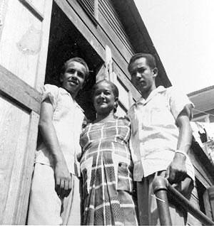 Ernesto Gonzalez-Martinez (left) in Puerto Rico , with his mother, Aurora Martinez, and his brother, Alfredo Gonzalez-Martinez.