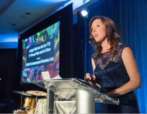 Katie Brandt, director of Caregiver Support Services for the Mass General FTD Unit, emceed its recent gala.