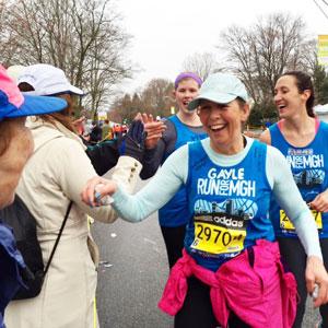 Gayle Chatlosh running last year's Boston Marathon with the pediatric cancer team.