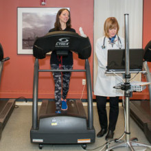 Lindsay Gervino is exercising again with the help of her Mass General cardiac rehabilitation nurse, Nancy McCleary, RN.
