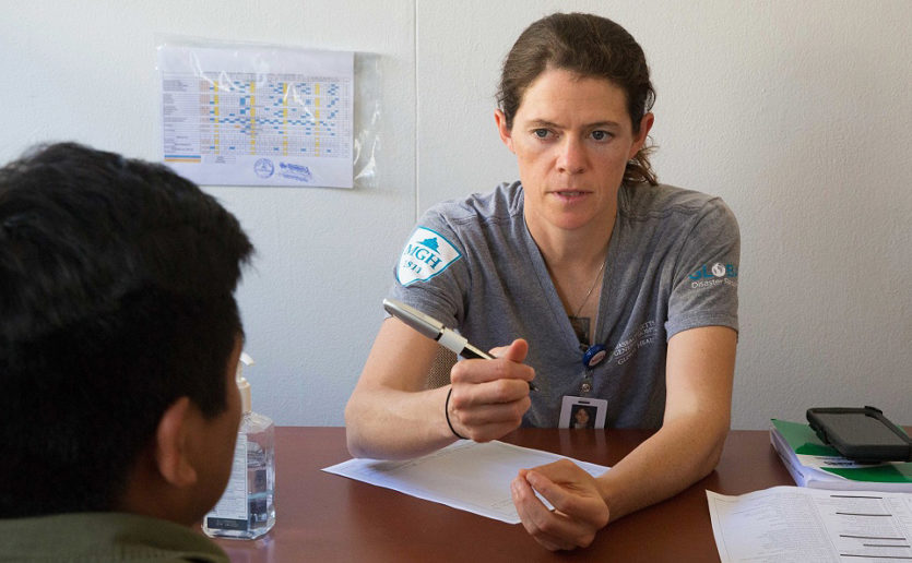 Nurse practitioner Lindsey Martin, NP, was part of a Mass General global disaster response team that served aboard the U.S. Naval Ship Comfort last fall, in response to a humanitarian crisis in South America.
