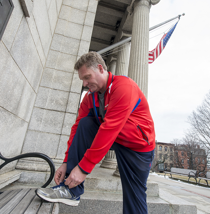 Lacing up for his weekly walk up the Bunker Hill Monument, MGH Fund supporter John Guertin is grateful to be able to do ordinary physical activities.