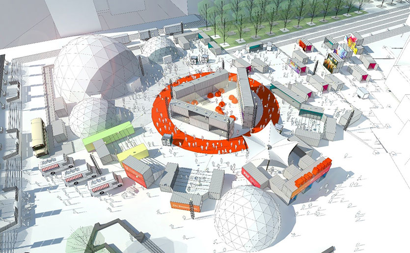 For HUBweek 2017, the HUB at Boston City Hall Plaza will feature nine geodesic domes, shipping containers and food trucks.