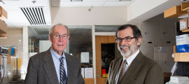 Diabetes researcher Dr. Joel Habener (left) has established a fund to help young researchers, managed by Dr. Henry Kronenberg .