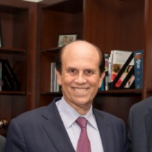 From left, Daniel A. Haber, MD, PhD, director, Mass General Cancer Center; Michael Milken, chairman, The Milken Institute and FasterCures; and Peter L. Slavin, MD, president, Massachusetts General Hospital.