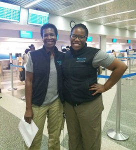 Joy Williams, RN (left), and Naima Joseph, MD, were among the first members of the Mass General disaster response team to leave for hurricane-stricken Haiti. (photo by Shauna Murray)